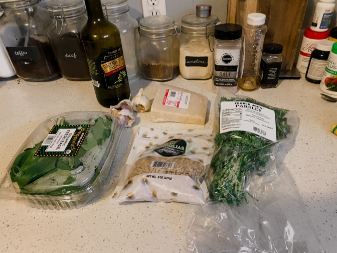 Pesto ingreditents